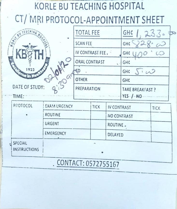 Krankenhausrechnung für das MRT von Seth